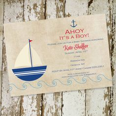 baby boy shower invitation nautical sail boat theme, digital, printable file (item 1251). $13.00, via Etsy.