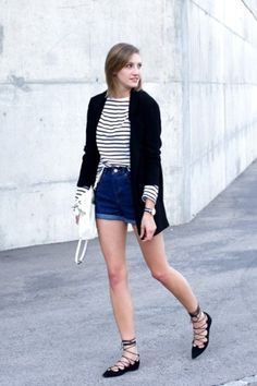 Flats Lace Up Shoes for Street Style Outfit that You Need to Try Outfits Fo, Summer Shorts Outfits, Short Outfits, Spring Outfits, Fashion Outfits, Fashion Trends, Blazer Jeans, Denim Shorts, Flat Lace Up Shoes