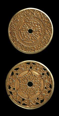 Indonesia ~ Bugis | Pair of ear discs or pendants ~ Kowari' ~ gold | Late 19th to early 20th century   |||  {GPA}
