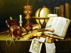 """Dutch Golden Age still-life painter Adam Bernaert is the author of this Vanitas painting. The Dutch Vanitas still life symbolizes Memento mori, how vain and insignificant are human concerns, and, therefore, how important it is to turn to God. The term comes from the biblical Book of Ecclesiastes """"Vanity of vanities! All is vanity."""""""