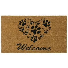 This dog-themed door mat is the perfect way to welcome your guests while showing your love for man's best friend. Made from eco-friendly materials, this durable brown mat features a heart filled with a variety of charming black paw prints.