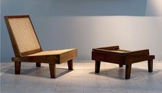 BassamFellows - THE FURNITURE OF PIERRE JEANNERET Low Chair, Cantilever Chair, Library Table, Pierre Jeanneret, Modern Stools, Wood Design, Chair Design, Teak, Folding Chairs
