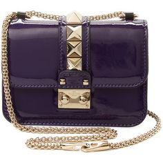 f6370aad62 Valentino Garavani dámská kšiltovka Glam Lock Mini brašna na kožené rameno  - Purple