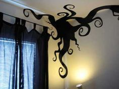 Awesome! test some contact paper on our painted walls and try some crazy designs like this for Halloween...love it!