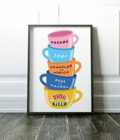 Friends TV Show Gift Central Perk Poster Friends tv wall art Central Perk Mug Friends Mug Bedroom Poster Ross and Rachel Central Perk art Friends Tv Show Gifts, Friends Tv Quotes, Friends Poster, Friends Moments, Friends Series, Friends Merchandise, Art Central, Friends Wallpaper, Friend Mugs