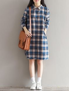 Casual Lapel Plaid Long Sleeves Blouse For Women can cover your body well, make you more sexy, Newchic offer cheap plus size fashion tops for women. Stylish Dresses For Girls, Trendy Outfits, Girl Outfits, Cute Outfits, Fashion Outfits, Modern Hijab Fashion, Korean Fashion, Style Casual, Casual Tops