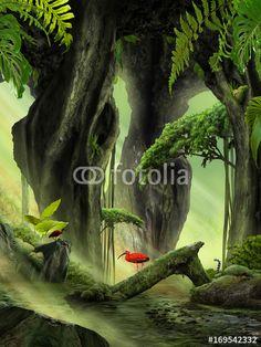 Fantasy Jungle Landscape - Plakát, Obraz na zeď | Posters.cz