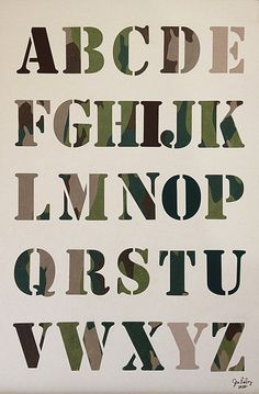 Camouflage Handmade Alphabet Poster - Green, Brown and Khaky Army Font  - Boys Room Decor 12x18 Unframed. $25.00, via Etsy.
