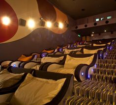 "This is how a cinema should be: ""Known as the Beanie Plex, this theater, from TGV Cinemas, is located in the Sunway Pyramid mall. It caters to couples by offering comfy chairs big enough for two people."" In Malaysia"