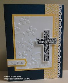 cut a cross out of patterned black & white on embossed background