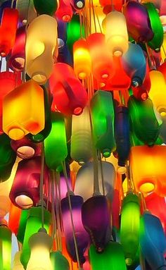Royal Botanic Garden's Colorful Recycled Bottle Chandelier http://www.lightpublic.com/lighting-articles/royal-botanic-gardens-colorful-recycled-bottle-chandelier/