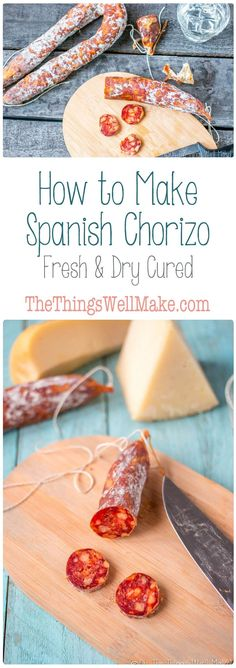 Enjoy Spain's signature sausage no matter where you live when you learn how to make Spanish chorizo at home. You can cook it fresh, as the Spanish would at a BBQ, or dry cure it and eat it sliced with other sliced meats and cheeses. Homemade Sausage Recipes, Meat Recipes, Mexican Food Recipes, Real Food Recipes, Cooking Recipes, Yummy Food, Spanish Chorizo Recipes, Spanish Sausage, Mexican Sausage