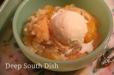 Winter Peach Cobbler - made with canned peaches and a sugar and flour crumble.