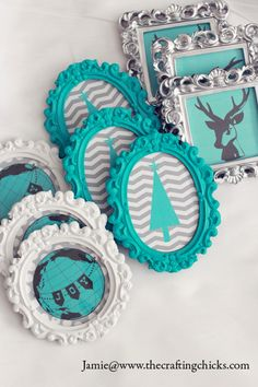 Michael's Dream Christmas Tree Challenge 2013 *Reveal! Turquoise diy frame ornaments