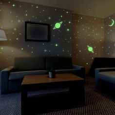 Walplus Wall Stickers Moon and Stars Glow in Dark Removable Self-Adhesive Mural Art Decals Vinyl Home Decoration DIY Living Bedroom Office Décor Wallpaper Kids Room Gift (pack of Yellow Wall Stickers Moon And Stars, Wall Stickers Glow In The Dark, Kids Room Wall Stickers, Kitchen Wall Stickers, Wall Decals, Kids Room Wallpaper, Bedroom Themes, Bedroom Ideas, Decorating Your Home