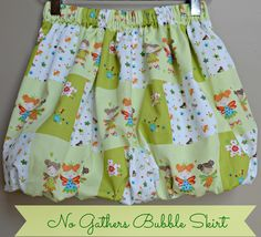 No Gathers Bubble Skirt - not only does it require no gathering to make, there are no worried about gathering threads snapping while the kid is cartwheeling! Guest post by Olga of Kid Approved. This one's mom approved too.