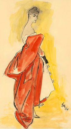 Week 2// Water Colour//Eric, 1954// This illustration really emphasises hte garment she waers, and draws attention to the coat she drapes around her elbows, where are her body is left sparse and undetailed. I also like how the background has quickly been painted in.
