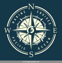 Nautical Logo, Nautical Compass, Nautical Design, Nautical Theme, Compass Logo, Compass Design, Badge Design, Logo Design, Dia Do Designer