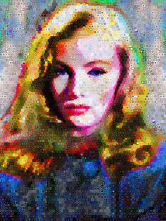 """'I know I've got lots of faults, but being in love with you isn't one of them, is it?"""" Veronica Lake Op/Abstract portrait.Dimension 80 x 60 Inches"""