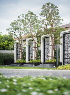 How To Match The Style Of Your Home With Your Landscape Design - House Garden Landscape Main Gate Design, Entrance Design, Facade Design, Fence Design, Exterior Design, Entrance Signage, Exterior Signage, Garden Landscape Design, Landscape Architecture