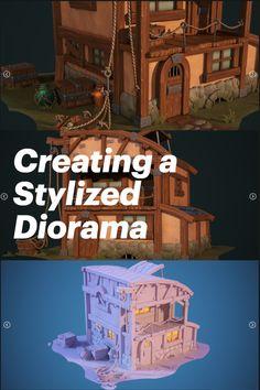3d Tutorial, 3d Background, Zbrush, Diorama, Game Art, Outline, Maya, Sculpting, Modeling