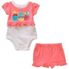 Garanimals Newborn Baby Girl Peplum Graphic Bodysuit/Tee & Knit Ruffle Short Outfit Set, Size: 3 - 6 Months, Orange