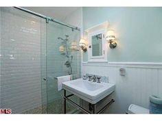 Sliding shower doors, nice tiles