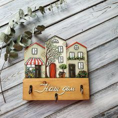 Wood Block Crafts, Wooden Projects, Wood Blocks, Crafts To Sell, Home Crafts, Diy And Crafts, Glass Painting Designs, Paint Designs, Small Wooden House