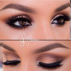 Neutral toned eyes and winged eye liner, so pretty for my brown latina eyes