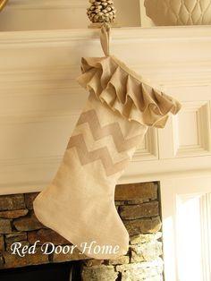 Chevron Zig Zag Linen Christmas Stocking - Natural. $40.00, via Etsy.