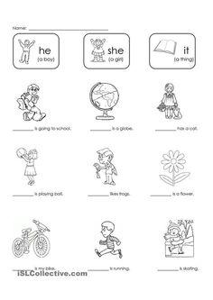 Pronoun Worksheets for Kindergarten Free. 24 Pronoun Worksheets for Kindergarten Free. English Lessons For Kids, English Worksheets For Kids, Kids English, English Activities, Learn English, English Class, Pronoun Worksheets, Kindergarten Worksheets, In Kindergarten