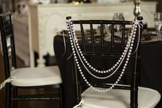 Snohomish Wedding Tour 2013, Hidden Meadows ~Pearl Swag Chair Decor Gatsby, black and white, blush