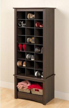Contemporary Shoe Cabinet 24 Cubbies Large Bottom Compartment Espresso Finish