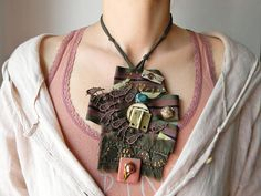 Army fabric necklace Military high fashion necklace bib Kaki