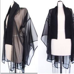 REDUCED FINAL DROP ✔️ NWOT FROM ANOTHER POSHER Absolutely BEAUTIFUL black chiffon kimono! Didn't go with what I was going to wear so I'm just reselling it! These are her original pictures from @outlying0077 and she's the one who designed it!! Unknown Other