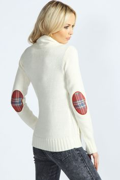 Tilly Cable Cardigan With Tartan Elbow Patches