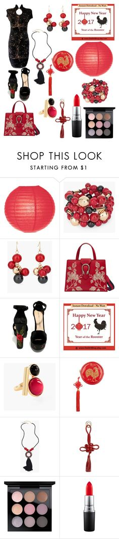 """""""Chinese New Year"""" by bre-is-a-dork ❤ liked on Polyvore featuring Cultural Intrigue, Chico's, Gucci, Chinese Laundry, Harrods, Balenciaga, MAC Cosmetics and Chanel"""