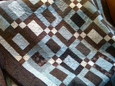 Coffee quilt...I'd like to do this and where it's blue use denim (I've been saving my jeans for a long, long time)