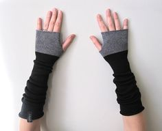 Long Fingerless Gloves Thumbhole Arm Warmers by Laindesign on Etsy