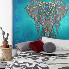 210cm-Large-Indian-Tapestry-Wall-Hanging-Hippie-Elephant-Bedspread-Throw-Bohemia