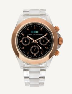 CLEAR LUCITE BAND - ROSE GOLD BEZEL BLACK DIAL FINISHED WATCH