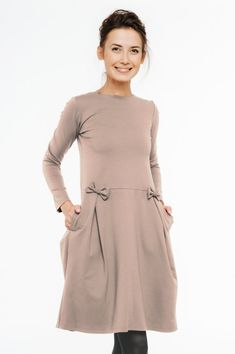 Japanese dress, modest dress, neutral dress, LeMuse japanese dress designed and sewed by LeMuse.  When you dress LeMuse nude japanese dress you feel sensible and adorable. LeMuse hides all imperfections and makes you perfect.  DRESS SPECIFIC: - Ready to ship. - Fits for any body size women. -