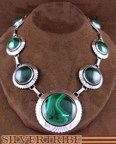 Native American Navajo Genuine Sterling Silver And Malachite Link Necklace RS53638