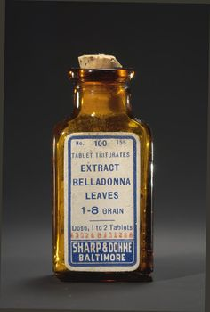 Belladonna leaf extract, Sharp & Dohme Co., Baltimore, about 1925. Used in a variety of medicines, belladonna is poisonous in large doses. Smithsonian Institution