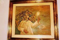 . Precioso y poco conocido  Oleo del pintor alicantino ROBERTO RUIZ MORANTE. Yo lo llamo Angel de la luz. Medidas sin marco: 55x46cm.Con Marco:65x75  Una Obra de Arte digna de coleccionistas. opci�n: Negociable