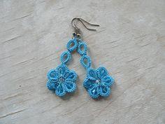 Turquoise sky flower Dangle earrings handmade by SouffleShop