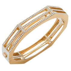 Diamond gold hinged bangle bracelet | From a unique collection of vintage bangles at https://www.1stdibs.com/jewelry/bracelets/bangles/