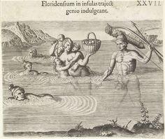 Indianengezin loopt door het water, Theodor de Bry, Johann Theodor de Bry, 1591