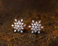 Snowflake Earrings Snow Winter Theme Cool Frozen Jewelry Stud Post Gift Idea Color Select by authfashion #DiamondEarrings #piercingjewelrygoldstudearrings
