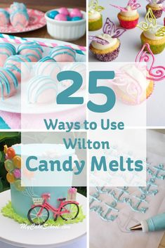 25 Ways to Use Wilton Candy Melts (chocolate cake frosting decoration) Fondant Cupcakes, Fun Cupcakes, Cupcake Cakes, Fondant Bow, Car Cakes, Marshmallow Fondant, Fondant Toppers, Fondant Flowers, Wilton Candy Melts